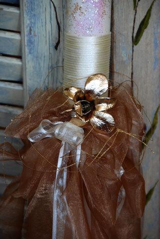 Μίνιμαλ λαμπάδα σε χρώμα σοκολατί και ιβουάρ